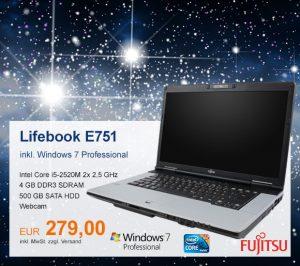 Top-Angebot: Fujitsu Lifebook E751 nur 279 €
