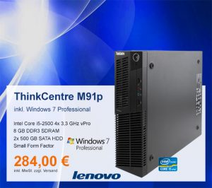 Top-Angebot: Lenovo ThinkCentre M91p nur 284 €