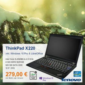 Top-Angebot: Lenovo ThinkPad X220 nur 279 €