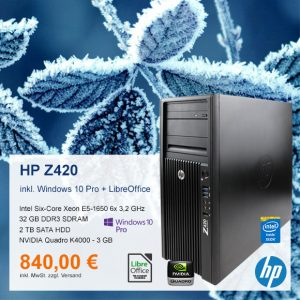 Top-Angebot: HP Z420 Workstation nur 840 €