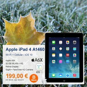 Top-Angebot:  Apple iPad 4 A1460 nur 199 €