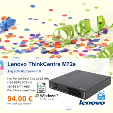 Top-Angebot: Lenovo ThinkCentre M72e nur 94 €