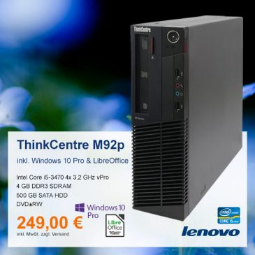 Top-Angebot: Lenovo ThinkCentre M92p nur 249 €