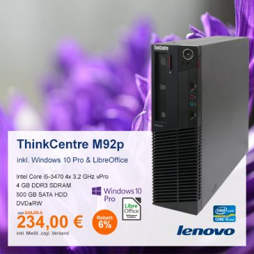 Top-Angebot: Lenovo ThinkCentre M92p nur 234 €