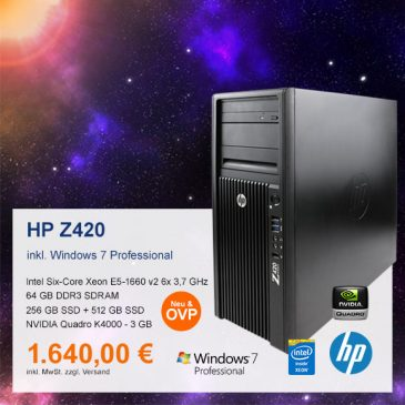 Top-Angebot: HP Z420 Workstation nur 1.640 €