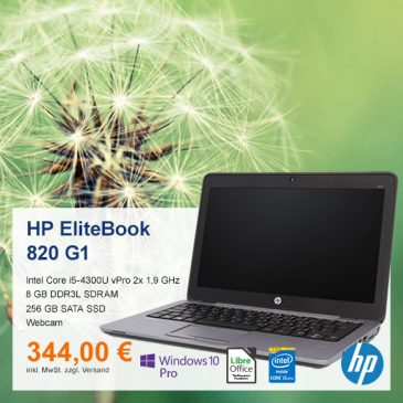 Top-Angebot: HP EliteBook 820 G1 nur 344 €