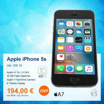 Top-Angebot: Apple iPhone 5s A1457 nur 194 €