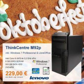 Top-Angebot: Lenovo ThinkCentre M92p nur 229 €