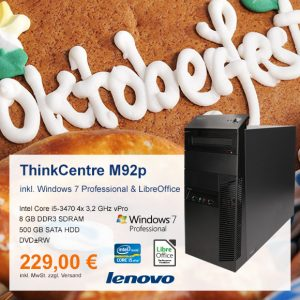 Top-Angebot: Lenovo ThinkCentre M92p nur 229 €