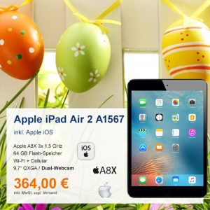 Top-Angebot: Apple iPad Air 2 A1567 nur 364€