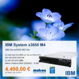 Top-Angebot: IBM System x3650 M4 nur 4.490 €