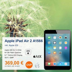 Top-Angebot: Apple iPad Air 2 A1566 nur 369 €