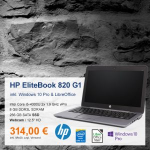Top-Angebot: HP EliteBook 820 G1 nur 314 €