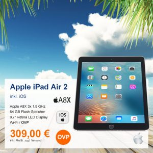 Top-Angebot: Apple iPad Air 2 A1566 nur 309 €