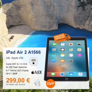 Top-Angebot: Apple iPad Air 2  A1566 nur 299 €