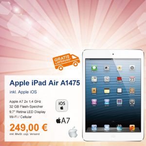 Top-Angebot: Apple iPad Air A1475 nur 249 €