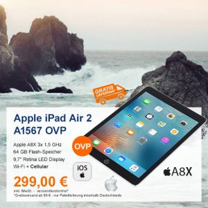 Top-Angebot: Apple iPad Air 2 A1567 nur 299 €