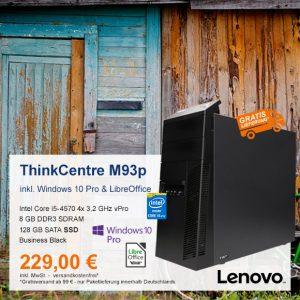 Top-Angebot: Lenovo ThinkCentre M93p Tower nur 229 €
