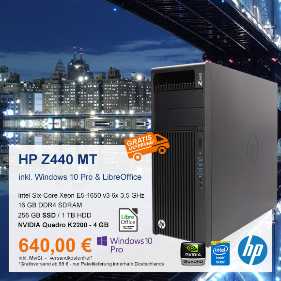 Top-Angebot: HP Z440 Workstation nur 640 €