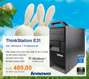 Top-Angebot: Lenovo ThinkStation E31 nur 489 €
