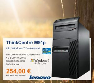Top-Angebot: Lenovo ThinkCentre M91p nur 254 €