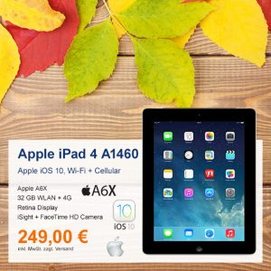 Top-Angebot: Apple iPad 4 A1460 Wi-Fi + Cellular nur 249 €