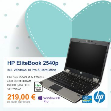 Top-Angebot: HP EliteBook 2540p nur 219 €