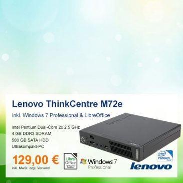 Top-Angebot: Lenovo ThinkCentre M72e nur 129 €