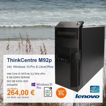 Top-Angebot: Lenovo ThinkCentre M92p nur 264 €