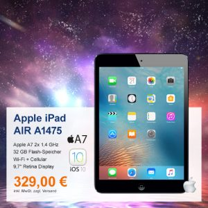 Top-Angebot: Apple iPad AIR A1475 nur 329 €