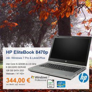 Top-Angebot: HP EliteBook 8470p nur 344 €