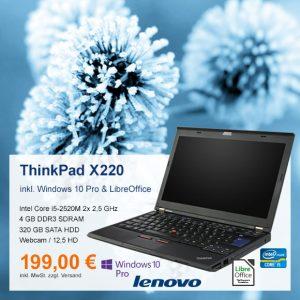 Top-Angebot: Lenovo ThinkPad X220 nur 199 €