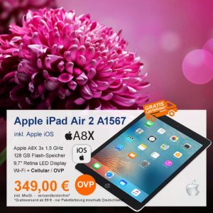 Top-Angebot: Apple iPad Air 2 A1567 nur 349 €
